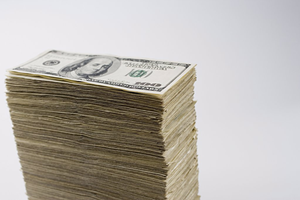 Stack of hundred dollar bills : Stock Photo