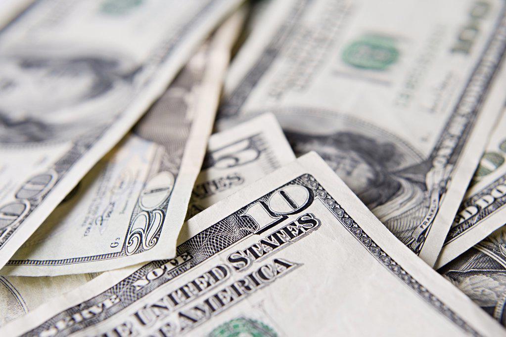 Pile of dollar bills : Stock Photo