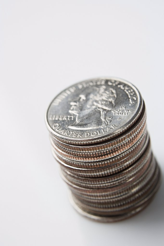 Stack of quarters : Stock Photo