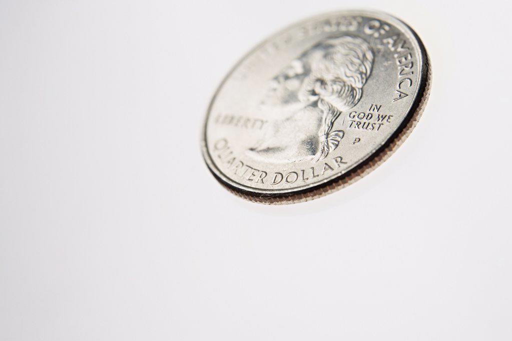 Stock Photo: 1439R-997727 Quarter dollar coin