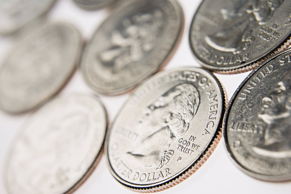 Quarter dollar coins : Stock Photo