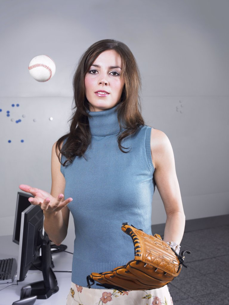 Woman with baseball and glove : Stock Photo