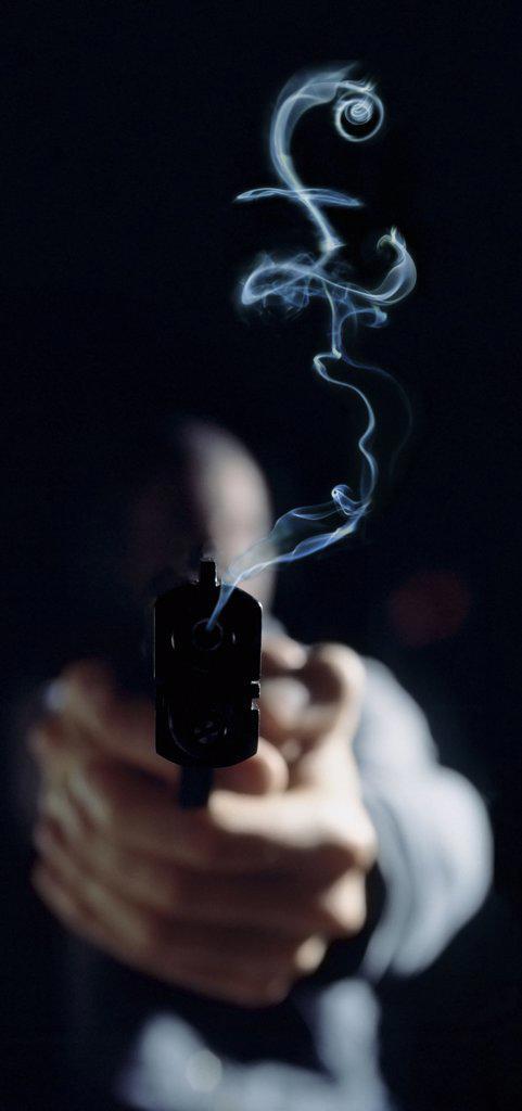 Pound sign in gun smoke : Stock Photo