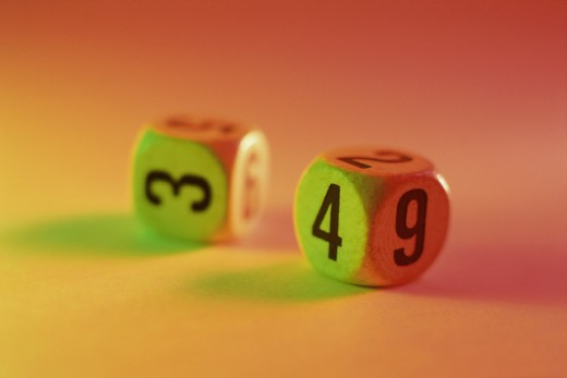 Stock Photo: 1441R-334 Close-up of a pair of numbered dice