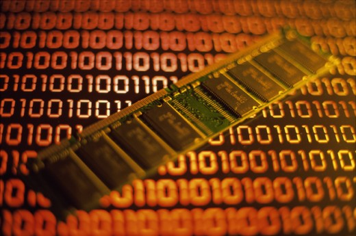 Stock Photo: 1441R-986 Close-up of a computer RAM chip on binary code