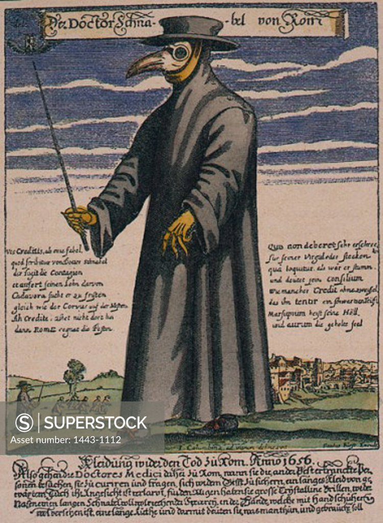 Stock Photo: 1443-1112 Dr. Schnabel of Rome, a Plague Doctor in 1656 Paul Fuerst Copper engraving