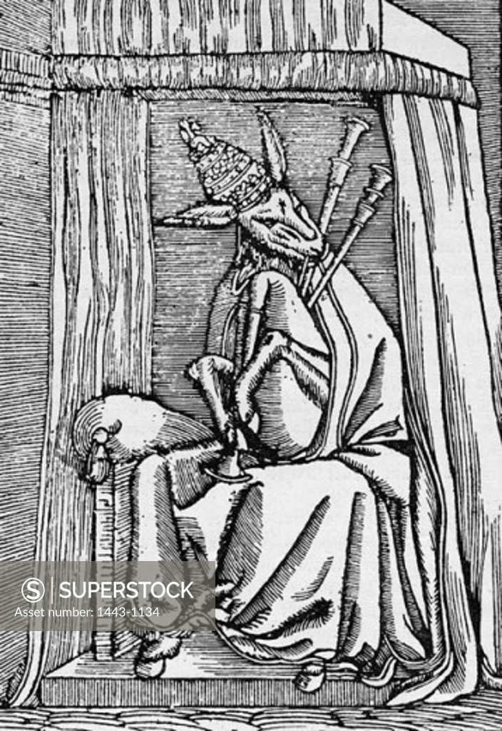 Stock Photo: 1443-1134 Anti-Catholic Satire: The Pope as an Ass with Bagpipes 1545 Lucas Cranach the Younger (1515-1586 German) Woodcut print