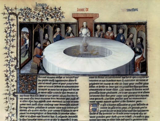Stock Photo: 1443-1009 The Holy Grail Appears to the Knights of the Round Table