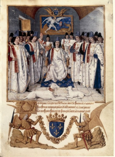 Stock Photo: 1443-1015 Louis XI at the Chapter Assembly of the St. Michael Order