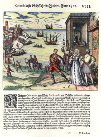 Stock Photo: 1443-1024 Columbus' First Voyage in India, 1492