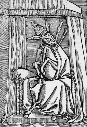 Stock Photo: 1443-1134 Anti-Catholic Satire: The Pope as an Ass with Bagpipes