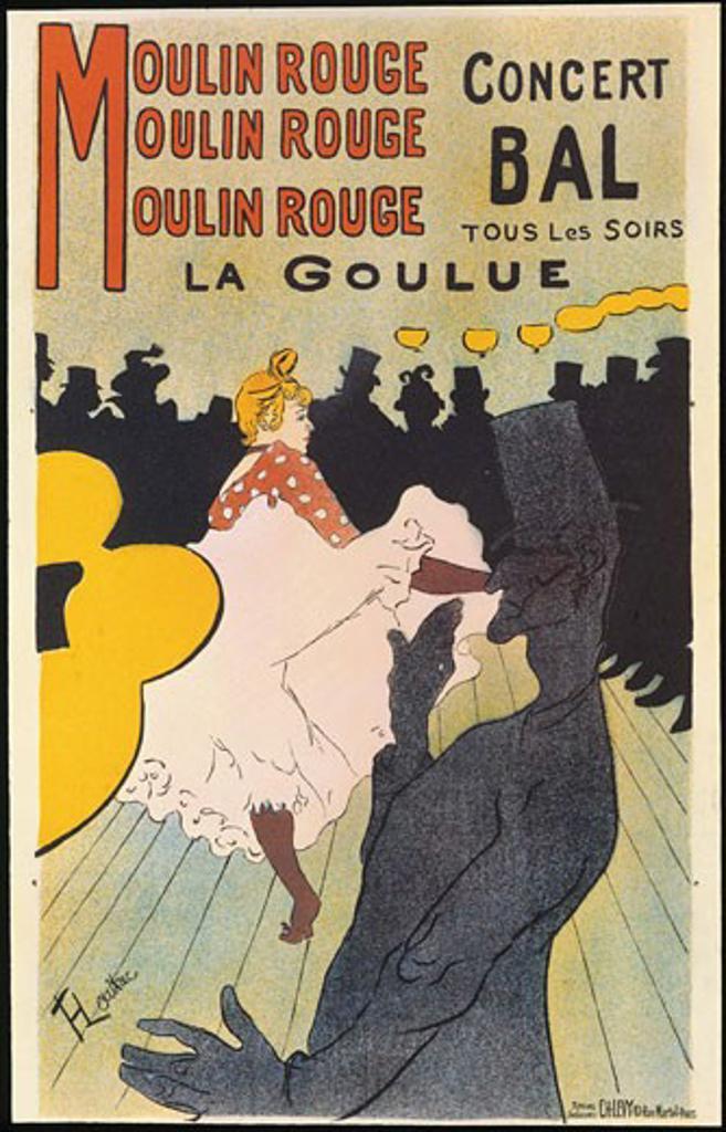 Moulin Rouge, La Goulue 1891 Henri de Toulouse-Lautrec (1864-1901 French) Color Lithograph Private Collection : Stock Photo
