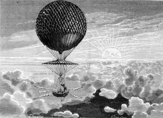 Stock Photo: 1443-1164 Balloon Ascent of the French Aeronaut Francois Blanchard