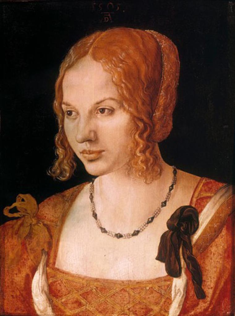 Stock Photo: 1443-1174 Portrait of a Venetian Woman  1505 Albrecht Durer (1471-1528 German) Oil on wood panel Kunsthistorisches Museum, Vienna, Austria