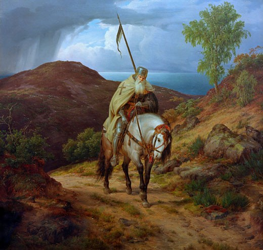 Stock Photo: 1443-1238 Crusader Returning Home Karl Friedrich Lessing (1808-1880 German) Oil on canvas