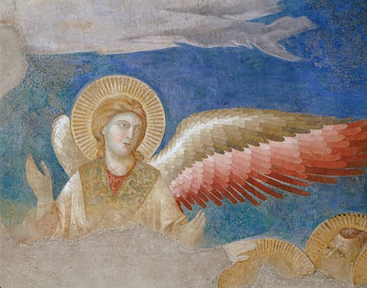 Stock Photo: 1443-1240 The Ascension (Detail) c.1290 1295 Giotto (ca.1266-1337 Italian) Fresco Upper Church of San Francesco, Assisi, Italy