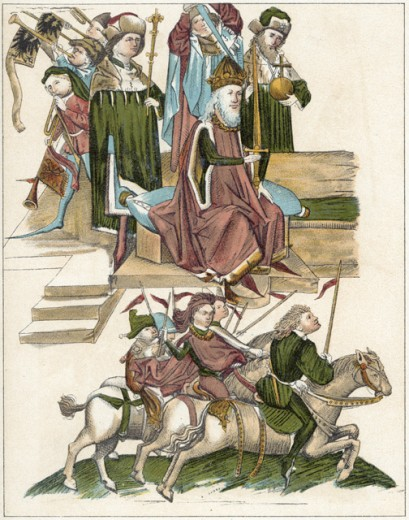 Stock Photo: 1443-125 Frederick I Receives the Title of Electorate of the Mark of Brandenburg by Emperor Sigismund, 1417 ca. 15th C. Artist Unknown Illuminated manuscript Rosengarten Museum, Konstanz, Germany
