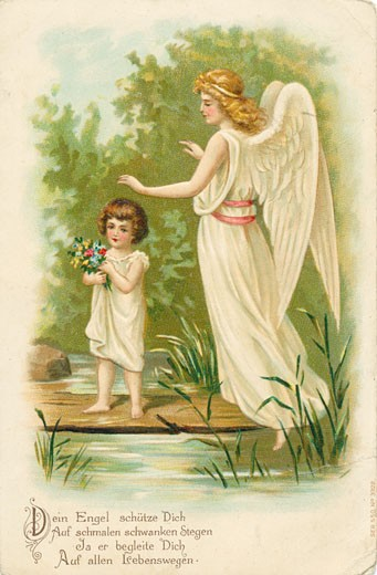 Stock Photo: 1443-1254 Child with Guardian Angel c.1900 Artist Unknown Color lithograph
