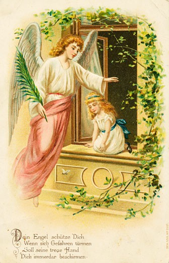 Stock Photo: 1443-1256 Your Angel will Protect You, When Danger is Near c.1900 Artist Unknown Postcard Color lithograph