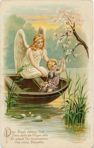 Your Angel is Watching over You and Stilling the Waves c.1900 Postcard Artist Unknown Color lithograph : Stock Photo