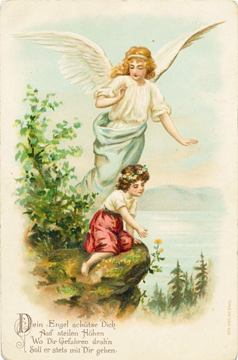 Your Angel Watches over You on the Steep Heights c. 1900 Postcard Artist Unknown Color lithograph : Stock Photo