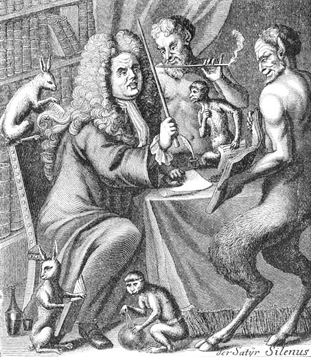 Stock Photo: 1443-1264 Caricature of Jakob Paul von Gundling, 1729, Artist Unknown, Copper engraving