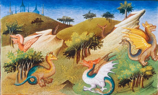 Fabulous Creatures (Dragons and Other Beasts), From Le Livre des Merveilles les du Monde, (The Travels of Marco Polo), Studio of the Boucicaut Master, c.1412, Illuminated manuscript, Bibliotheque Nationale, Paris, France : Stock Photo