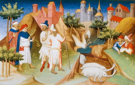 Stock Photo: 1443-1291 The elephant pit on Madagascar, guarded by the giant bird Rock, From Livre des Merveilles du Monde, (The Travels of Marco Polo), Studio of the Boucicaut Master, c.1412, Illuminated manuscript, Bibliotheque Nationale, Paris, France