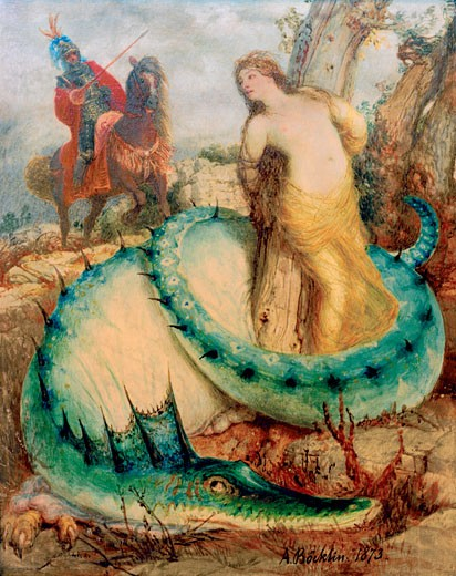 Stock Photo: 1443-1295 Angelica and the Dragon, 1873, Arnold Bocklin, (1827-1901/Swiss), Oil on wood, Berlin, SMPK, Nationalgalerie
