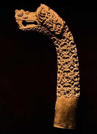 Stock Photo: 1443-1313 Wooden post with carved animal head from the Oseberg grave (burial mound with stones shaped like a ship - ship grave), Norway, 9th century AD., Oslo, Universitetets Oldsaksamling