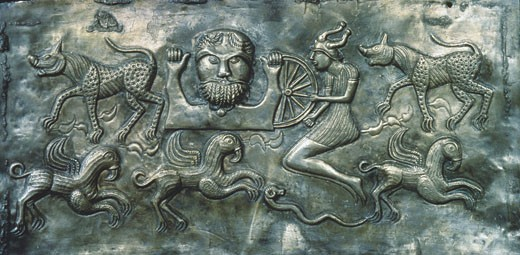 Relief plate from the Gundestrup Cauldron, 1st. Century AD, Artist Unknown , Metal relief, Found in the moors near Gundestrup, Jutland, National Museum, Copenhagen, Denmark  , : Stock Photo