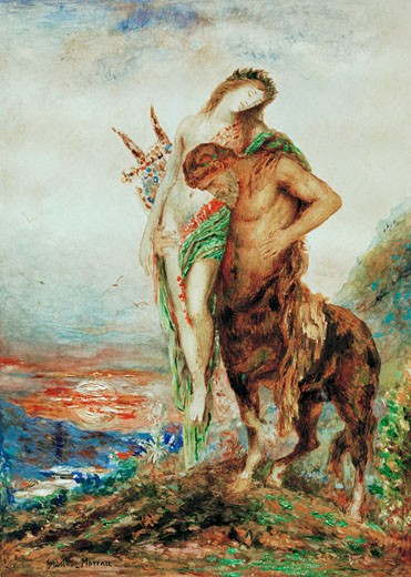 The Tired Centaur, c. 1880, Gustave Moreau, (1826-1898/French), Watercolor, National Museum, Belgrade, Serbia : Stock Photo