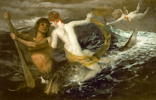 Triton carrying a nereid on his back, 1875, Arnold Bocklin, (1827-1901/Swiss), Oil on wood, Kunstmuseum St. Gallen, Switzerland : Stock Photo