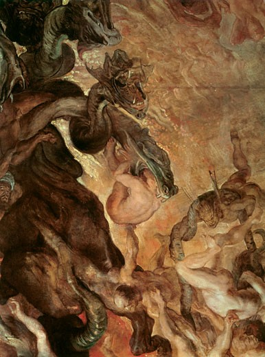 Stock Photo: 1443-1425 The Descent into Hell of the Damned, Peter Paul Rubens, (1577-1640/Flemish), Oil on wood, Alte Pinakothek, Munich, Germany