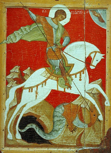 Stock Photo: 1443-1451 St. George and the Dragon, Russian, Novgorod School,, 2nd half 15th century, Egg Tempera on wood, St Petersburg, Russian State Museum