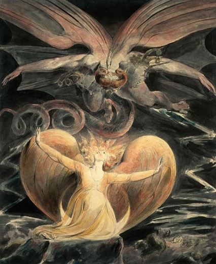 Stock Photo: 1443-1483 The Great Red Dragon and the Woman Clothed with the Sun, c. 1805, William Blake, (1757-1827/British), Watercolor, ink, pen, National Gallery of Art, Washington, D.C., USA