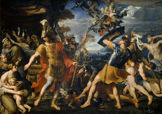 Stock Photo: 1443-1533 Aeneas and his Companions fight against the Harpies François Perrier (1590-1650 French) Oil on canvas Musee du Louvre, Paris, France