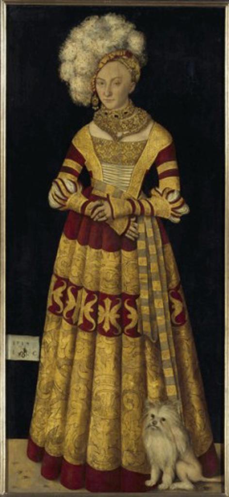 Katharina von Mecklenburg, Duchess of Saxony 1514 Lucas Cranach the Elder (1472-1553 German) Oil on canvas Gemaldegalerie, Dresden, Germany : Stock Photo