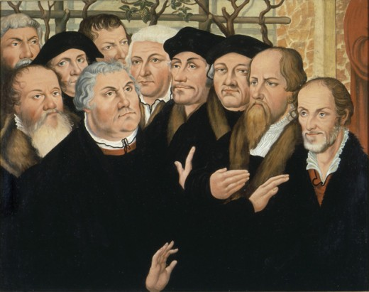 Stock Photo: 1443-184 Martin Luther With a Group of Reformers 1520 Artist Unknown (After Cranach) Lutherhalle, Wittenberg, Germany