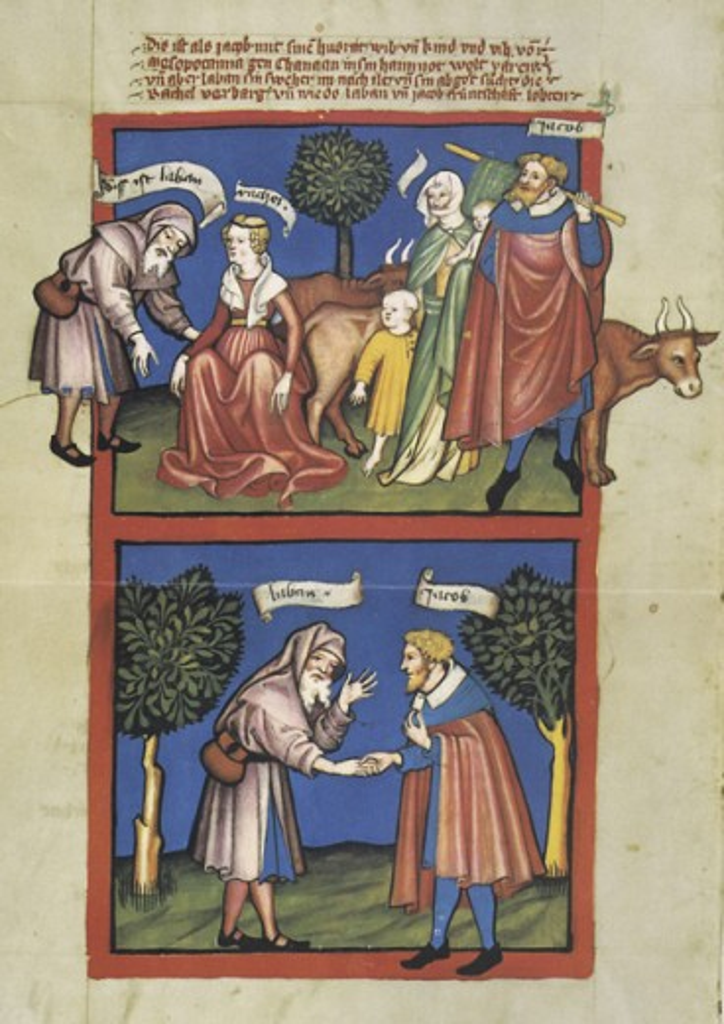 Rudolf von Ems' World Chronicle: Laban & Jacob ca.1411 Illuminated manuscript Staatliche Museen Preussischer Kulturbesitz, (Kupferstichkabinett) Berlin, Germany  : Stock Photo