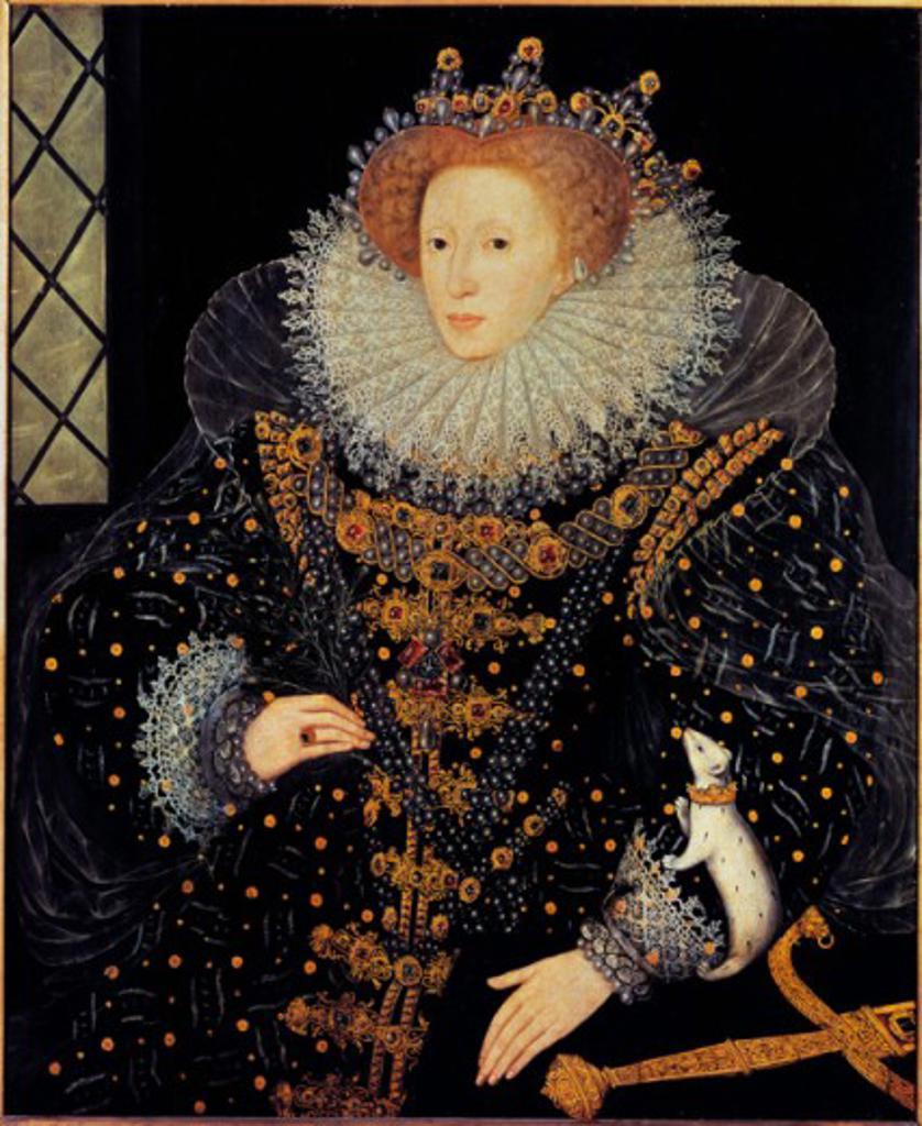 Stock Photo: 1443-259 The Ermine Portrait of Queen Elizabeth I  1585 Nicholas Hilliard (ca.1547-1619 British) Hatfield House, London, England