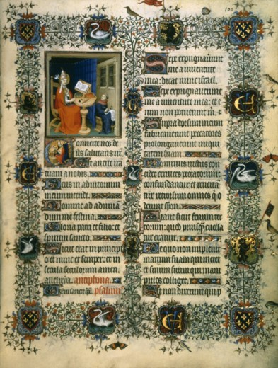 Stock Photo: 1443-366 St. Gregory--Les Tres Riches Heures du Duc de Berry 15th C. Limbourg Brothers (fl. 1400-1416 Netherlandish) Illuminated manuscript Bibliotheque Nationale, Paris, France