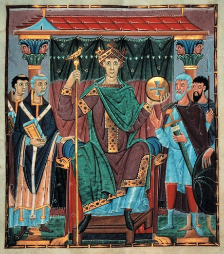 Otto III, German King & Holy Roman Emperor, Enthroned Between Two Lords Spiritual & Two Temporal