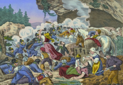 Fighting Between Bavarian Troops & French Peasants, 1870