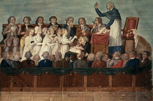 Stock Photo: 1443-531 Patriotic Artists' Wives Donating Their Jewelry at the National Assembly in 1789