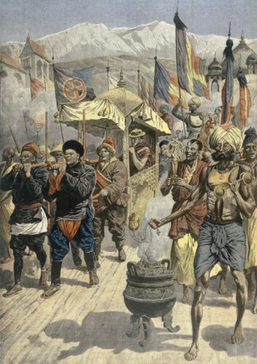 Dalai Lama Escaping from Tibet to British India