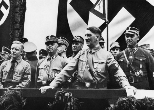 Stock Photo: 1443-606 Adolf Hitler with Josef Wagner, Wilhelm Schepmann, Victor Lutze, SA Meeting, Dortmund, Germany, July 9, 1933