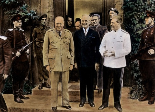 Stock Photo: 1443-620 Winston Churchill, Harry S. Truman and Joseph Stalin, Potsdam Conference, Germany, 1945