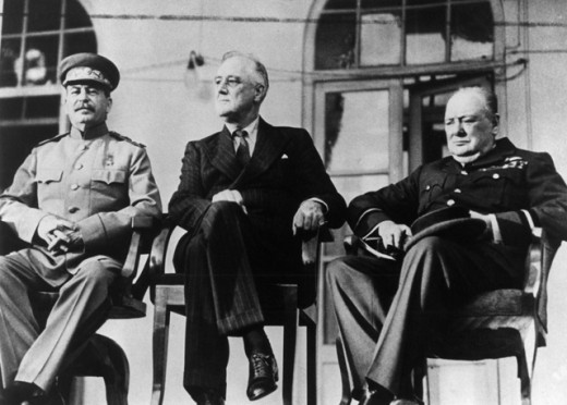 Stock Photo: 1443-627 Joseph Stalin, Franklin D. Roosevelt and Winston Churchill, Tehran Conference, Iran, 1943