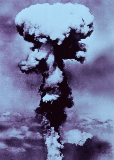 Stock Photo: 1443-631 Mushroom cloud formed by atomic bomb explosion, Nagasaki, Japan, August 9, 1945
